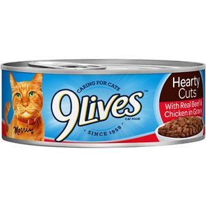 9 Lives Hearty Cuts with Real Beef & Chicken in Gravy Canned Cat Food