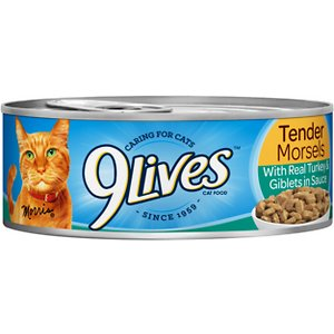 9 Lives Tender Morsels with Real Turkey & Giblets in Sauce Canned Cat Food