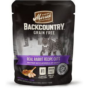 Merrick Backcountry Grain-Free Morsels in Gravy Real Rabbit Recipe Cuts Cat Food Pouches