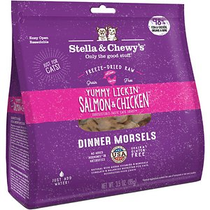 Stella & Chewy's Yummy Lickin' Salmon & Chicken Dinner Morsels Freeze-Dried Raw Cat Food