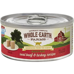 Whole Earth Farms Grain-Free Real Beef & Turkey Pate Recipe Canned Cat Food