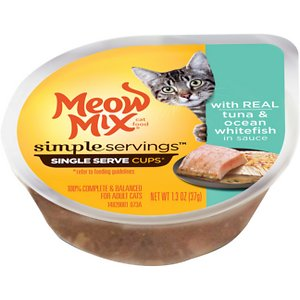 Meow Mix Simple Servings with Real Tuna & Ocean Whitefish in Sauce Cat Food Trays