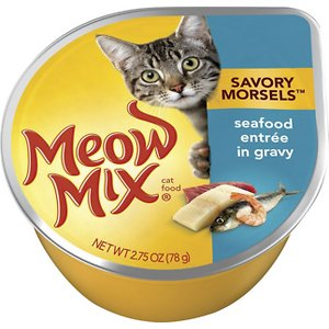 Meow Mix Savory Morsels Seafood Entree in Gravy Cat Food Trays