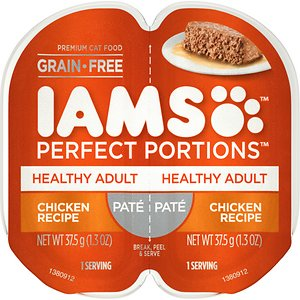 Iams Perfect Portions Healthy Adult Chicken Recipe Pate Grain-Free Cat Food Trays