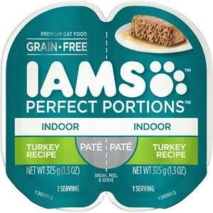 Iams Perfect Portions Indoor Turkey Recipe Pate Grain-Free Cat Food Trays