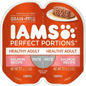 Iams Perfect Portions Healthy Adult Salmon Recipe Pate Grain-Free Cat Food Trays