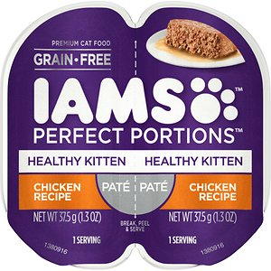 Iams Perfect Portions Healthy Kitten Chicken Recipe Pate Grain-Free Cat Food Trays