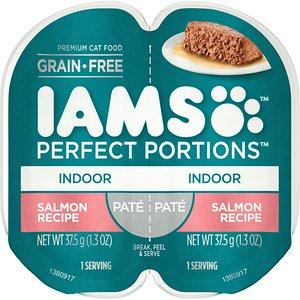 Iams Perfect Portions Indoor Salmon Recipe Pate Grain-Free Cat Food Trays