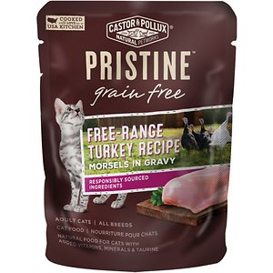 Castor & Pollux PRISTINE Grain-Free Free-Range Turkey Recipe Morsels in Gravy Cat Food Pouches