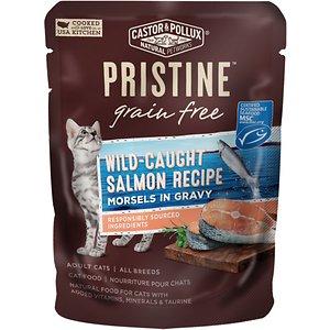 Castor & Pollux PRISTINE Grain-Free Wild-Caught Salmon Recipe Morsels in Gravy Cat Food Pouches