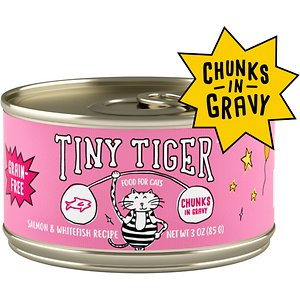 Tiny Tiger Chunks in Gravy Salmon & Whitefish Recipe Grain-Free Canned Cat Food