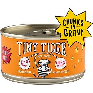 Tiny Tiger Chunks in Gravy Turkey Recipe Grain-Free Canned Cat Food