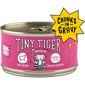 Tiny Tiger Chunks in Gravy Beef Recipe Grain-Free Canned Cat Food