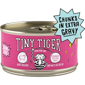 Tiny Tiger Chunks in EXTRA Gravy Beef Recipe Grain-Free Canned Cat Food
