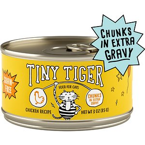 Tiny Tiger Chunks in EXTRA Gravy Chicken Recipe Grain-Free Canned Cat Food