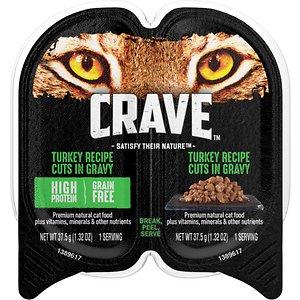 Crave Turkey Recipe Cuts in Gravy Grain-Free Adult Cat Food Trays