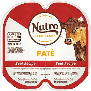 Nutro Perfect Portions Grain-Free Beef Paté Recipe Adult Cat Food Trays