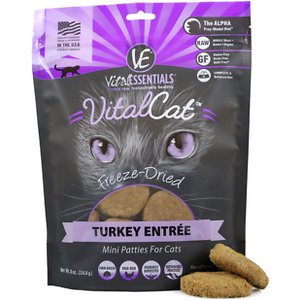 Vital Essentials Turkey Mini Patties Grain Free Limited Ingredient Freeze-Dried Cat Food