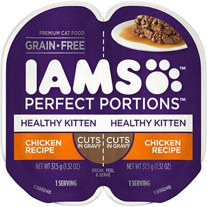 Iams Perfect Portions Healthy Kitten Chicken Recipe Grain-Free Cuts in Gravy Wet Cat Food Trays
