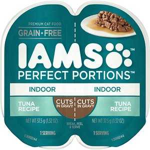Iams Perfect Portions Indoor Tuna Recipe Grain-Free Cuts in Gravy Wet Cat Food Trays