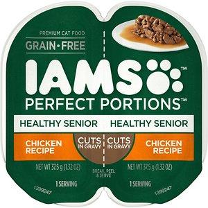 Iams Perfect Portions Healthy Senior Chicken Recipe Grain-Free Cuts in Gravy Wet Cat Food Trays