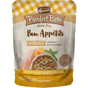 Merrick Purrfect Bistro Bon Appetits Grain-Free Chicken Recipe Morsels in Gravy Adult Cat Food Pouches