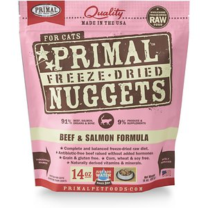 Primal Beef & Salmon Formula Nuggets Grain-Free Raw Freeze-Dried Cat Food