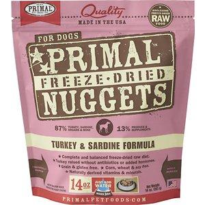 Primal Turkey & Sardine Formula Nuggets Grain-Free Raw Freeze-Dried Dog Food