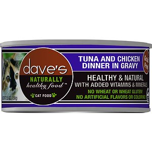 Dave's Pet Food Naturally Healthy Grain-Free Tuna & Chicken Dinner in Gravy Canned Cat Food