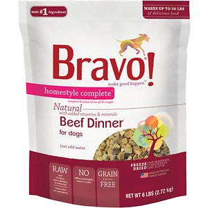 Bravo! Homestyle Complete Beef Dinner Grain-Free Freeze-Dried Dog Food