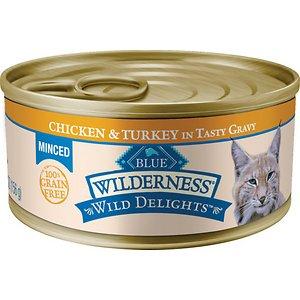 Blue Buffalo Wilderness Wild Delights Minced Chicken & Turkey in Tasty Gravy Grain-Free Canned Cat Food