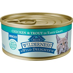 Blue Buffalo Wilderness Wild Delights Minced Chicken & Trout in Tasty Gravy Grain-Free Canned Cat Food