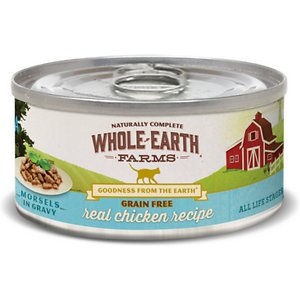 Whole Earth Farms Grain-Free Morsels in Gravy Chicken Recipe Canned Cat Food