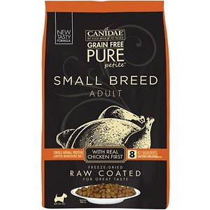 CANIDAE Grain-Free PURE Petite Chicken Formula Small Breed Limited Ingredient Freeze-Dried Raw Coated Dry Dog Food