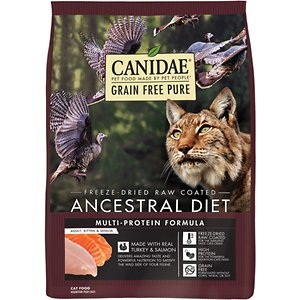 CANIDAE Grain-Free PURE Ancestral Freeze-Dried Raw Coated Turkey & Salmon Dry Cat Food
