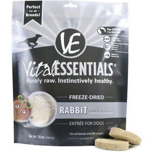 Vital Essentials Rabbit Entree Mini Patties Grain-Free Freeze-Dried Dog Food