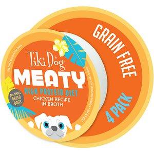 Tiki Dog Meaty High Protein Diet Chicken Recipe in Broth Grain-Free Wet Dog Food