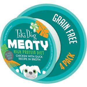 Tiki Dog Meaty High Protein Diet Chicken with Duck Recipe in Broth Grain-Free Wet Dog Food