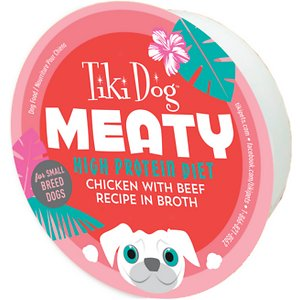 Tiki Dog Meaty High Protein Diet Chicken with Beef Recipe in Broth Grain-Free Wet Dog Food