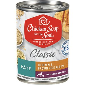 Chicken Soup for the Soul Classic Pate Chicken & Brown Rice Recipe Canned Dog Food