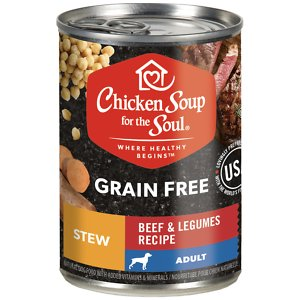 Chicken Soup for the Soul Beef & Legumes Recipe Stew Grain-Free Canned Dog Food