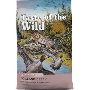 Taste of the Wild Lowland Creek Premium Real Meat Recipe with Roasted Quail & Duck Grain-Free Dry Cat Food