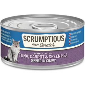Scrumptious From Scratch Tuna Dinner In Gravy with Carrots & Green Peas Canned Cat Food