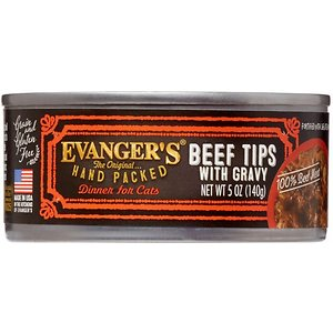 Evanger's Grain-Free Hand Packed Beef Tips with Gravy Canned Cat Food