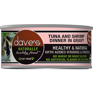 Dave's Pet Food Naturally Healthy Grain-Free Grilled Tuna & Shrimp Dinner in Gravy Canned Cat Food