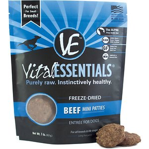 Vital Essentials Beef Entree Mini Pet Patties Grain-Free Freeze-Dried Dog Food