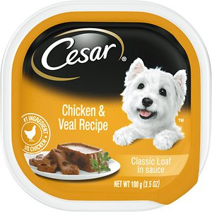 Cesar Classic Loaf in Sauce Chicken & Veal Recipe Dog Food Trays
