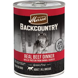 Merrick Backcountry Grain-Free 96% Real Beef Dinner Recipe Canned Dog Food