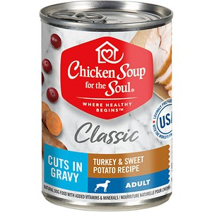 Chicken Soup Classic Cuts in Gravy Turkey and Sweet Potato Recipe Adult Dog Food